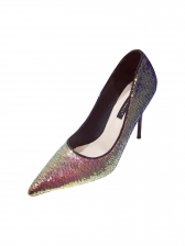 Sequined Pointed Toe Slip On Stiletto