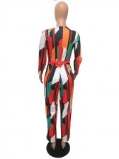 Color Block Tie-Wrap Wide Leg Jumpsuits For Women