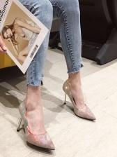 Rivet Printed Slip On Stiletto Heel