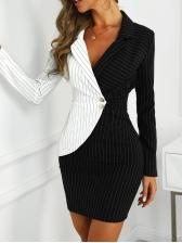 Slim Contrast Color Striped Formal Dresses