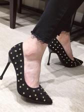 Suede Rivet Slip On Super High Heel