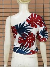 One Shoulder Printed Half Sleeve Ladies Blouse