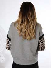 Patchwork Leopard Printed Long Sleeve T Shirt
