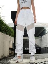 High Waist Gauze Patchwork White Jogger Pants