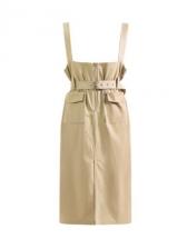 Solid Color Pockets Split Suspender Skirt