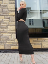 Casual Solid Long Sleeve Crop Top And Skirt Set
