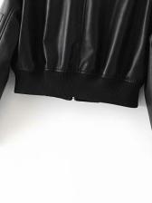 PU Pockets Patchwork Long Sleeve Black Jacket