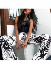 Simple Design Printed Casual Pants For Women
