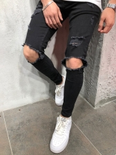 Elastic Slim Fit Solid Pencil Distressed Jeans