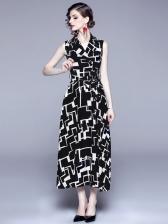 Lapel Collar Contrast Color Tie-Wrap Maxi Dress