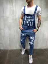 Modern Letter Printed Pocket Suspender Denim Jeans