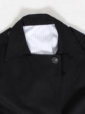 British Style Striped Patchwork Boutique Long Coat