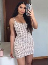 Deep U Neck Contrast Color Sleeveless Gauze Dress