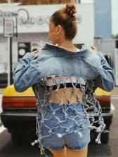 Fashion Backless Mesh Denim Jackets For Women