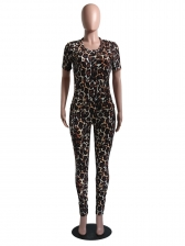 Casual Leopard Printed Short Sleeve 2 Piece Outfits
