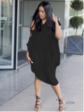 Off Shoulder Solid Short Sleeve Dress For Women
