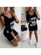 Off Shoulder Letter Casual Dress For Women