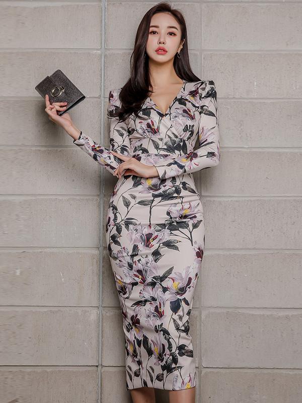 V Neck Floral Long Sleeve Bodycon Dress