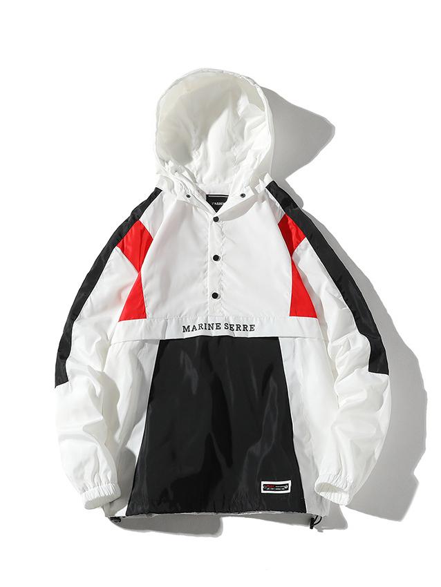 Versatile Contrast Color Hooded Collar Jackets For Men