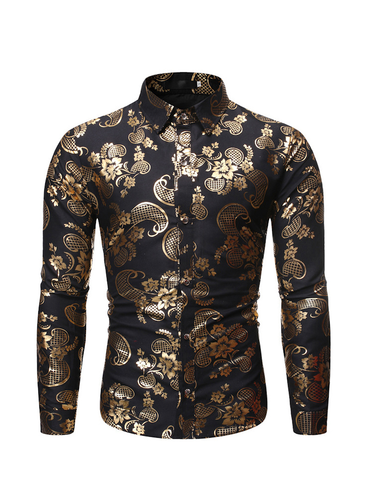 Fit Turndown Collar Foil Printing Men Shirt