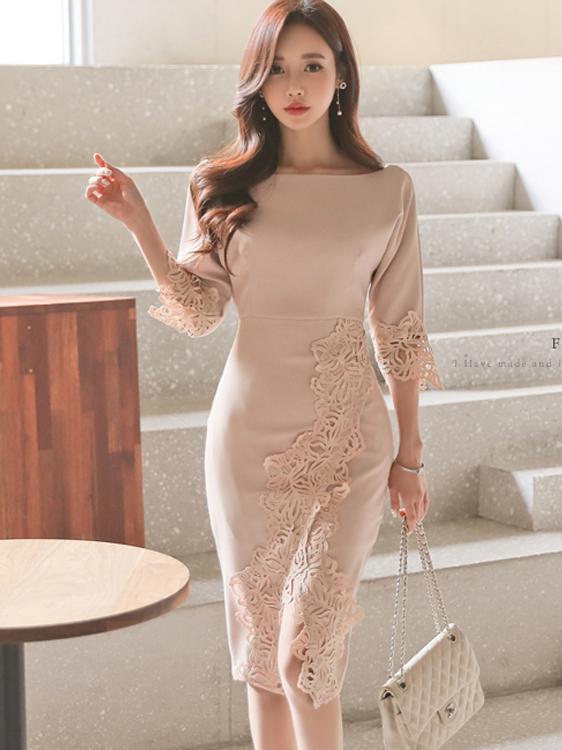 Ol Style Bateau Neck Lace Detail Ladies Dress