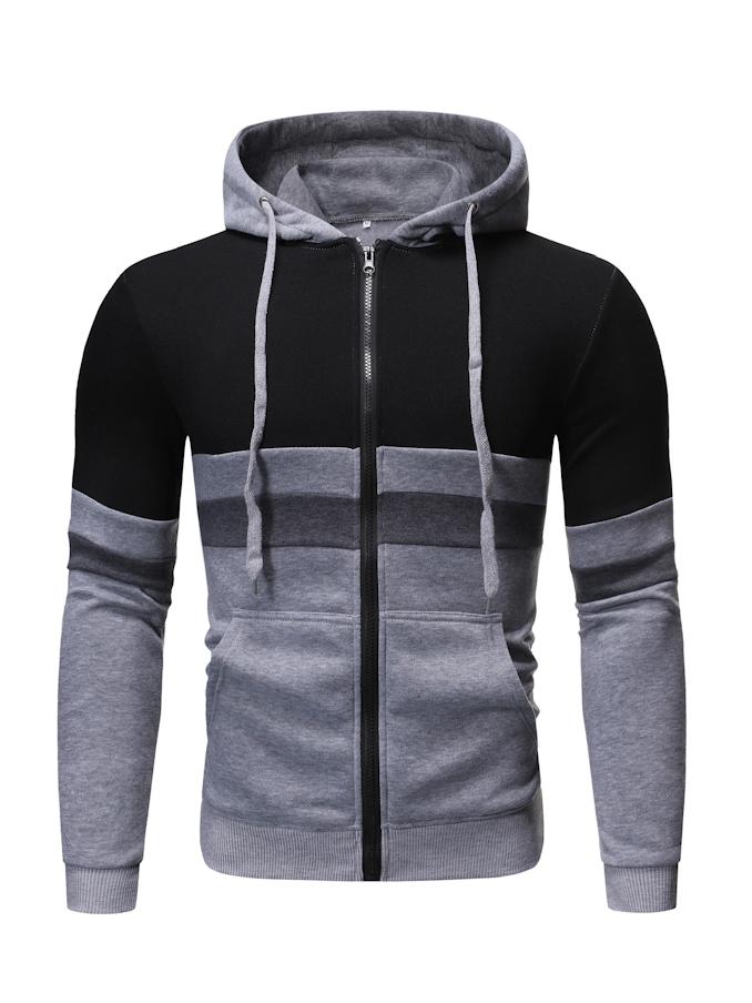 Simple Contrast Color Zip Up Hoodies