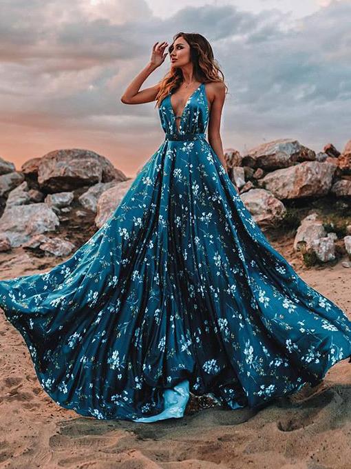 Deep V Neck Backless Floral Maxi Dress