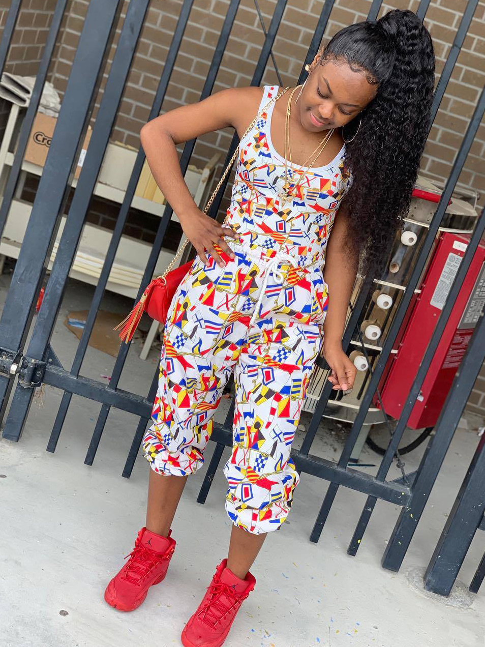 Casual Color Block Flag Printed 2 Piece Outfits