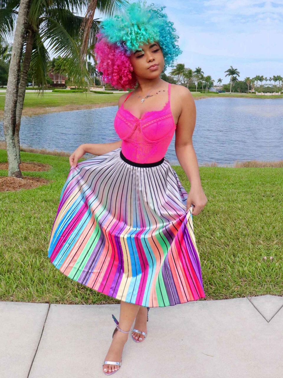 Euro Colorful Striped Elastic Waist Pleated Skirt