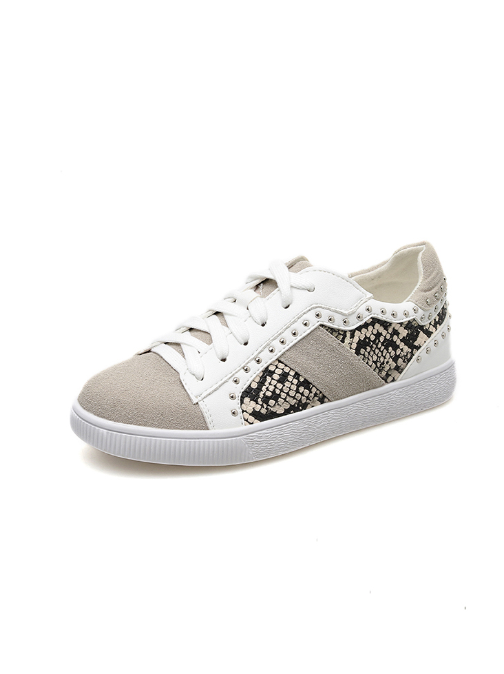 Casual Patchwork Tie Up White Sneaker