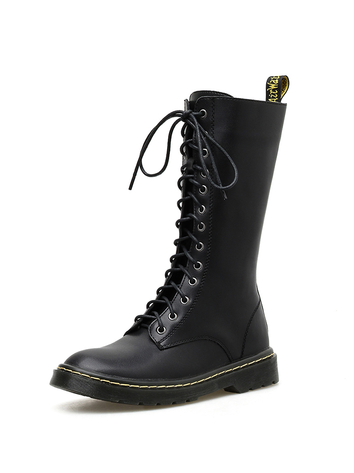 PU Round Toe Tie Up Womens Fashion Boots