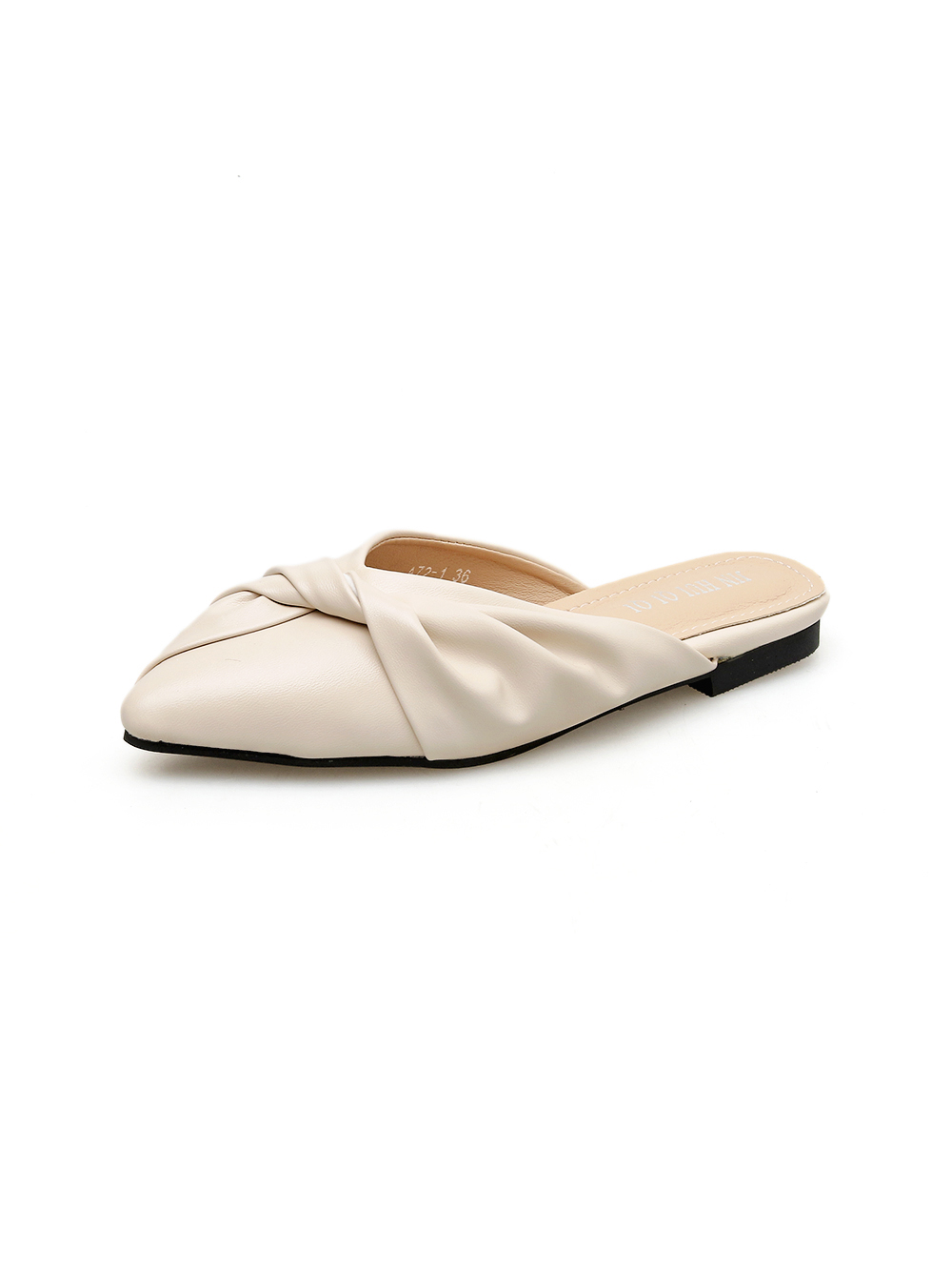 Fashion Solid Pointed Toe Bow Ladies Mules Slippers