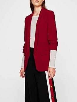Solid Pleated Casual Three-Quarter Sleeve Ladies Blazer