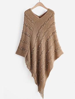 Beading Tassel Bottom Bat Sleeve Long Sweater