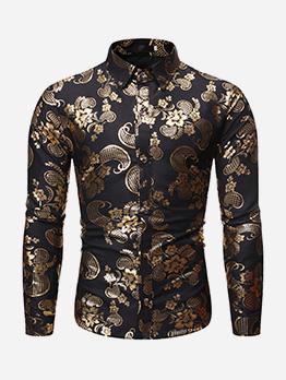 Fit Turndown Collar Foil Printing Men Shirt