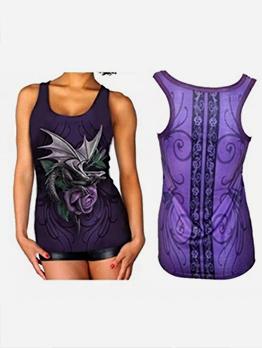 Summer U Neck 3D Printing Women Camisole