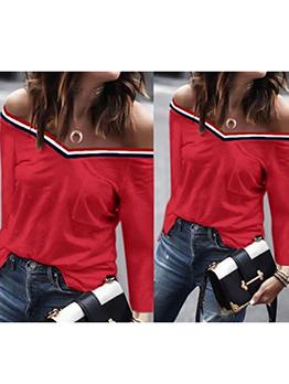 Off Shoulder V Neck Patchwork Long Sleeve T-shirt