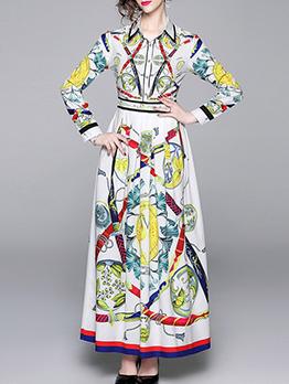 Printed Long Sleeve Pleated Maxi Dress
