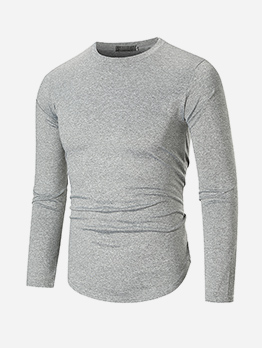Versatile Solid Crew Neck Long Sleeve t Shirt