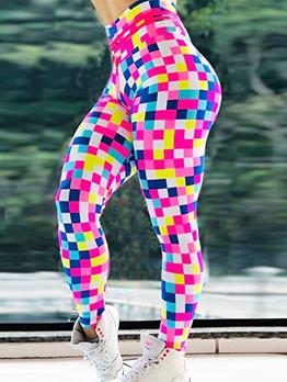 Colorful Square Mosaic Skinny Yoga Leggings