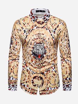 Leopard Printed Turndown Male Shirt
