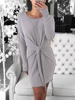 Crew Neck Tie-Wrap Solid Long Sleeve Ladies Dress