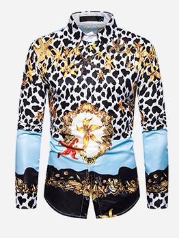 Loose Casual Starfish Long Sleeve Printed Shirts