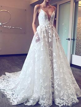 Sexy Deep V Neck Embroidery Gauze Prom Dress