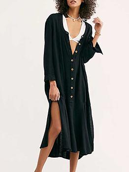 Deep V Neck Button Up Split Hem Midi Dress