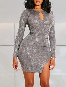 Irregular Cutting Glitter Silvery Bodycon Dress