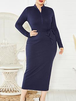 Mock Neck Tie-Wrap Knitting Long Sleeve Plus Size Dress