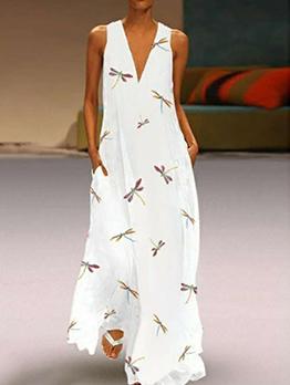 V Neck Printed Pockets Sleeveless Maxi Dress