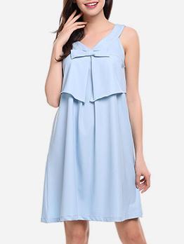 Sweet Style V Neck Solid Loose Sleeveless Dress