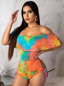 Off Shoulder Contrast Color Drawstring Rompers For Women